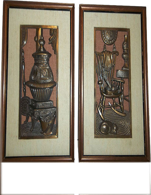 Set of 2     Chase of Japan Metal Art  - The Other Alley