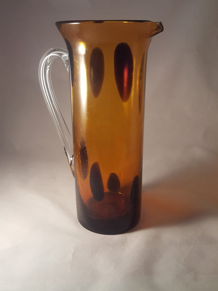 Amber Art Glass Pitcher by Gorgeous Design of China - The Other Alley
