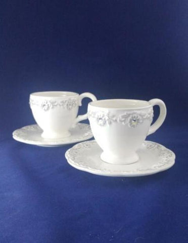 Porcelain Tea Cup And Saucer With Rhinestones  S/2