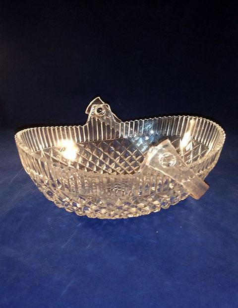 Oval Glass Basket With Plastic Handle - The Other Alley