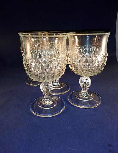 Indiana Glass Diamond Point Goblets  S/4 - The Other Alley