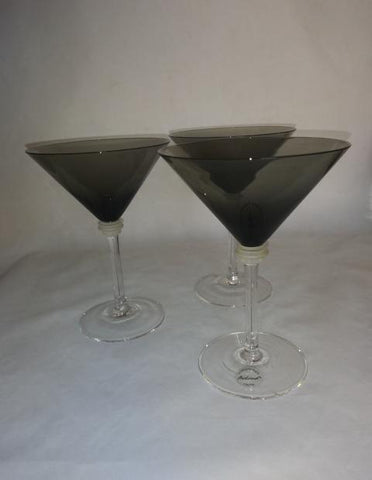 Black Martini Glasses With Frosted/Clear Stems - The Other Alley