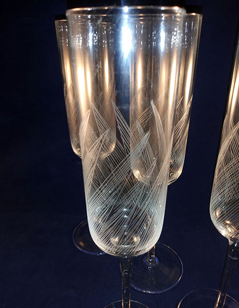 Tall Leaf Etched  Flutes - The Other Alley