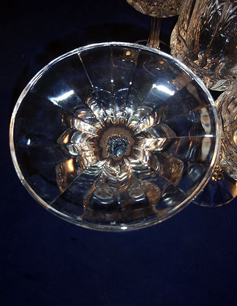 "Crystal D Flandre France ""Fascination"" Pattern Wine Goblets - The Other Alley"