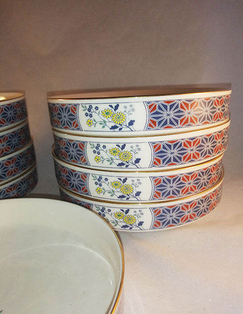 Noritake Cathay Blue And Yellow Flowers Berry/Dessert Coupe Bowls - The Other Alley