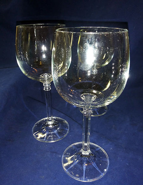 3 Crystal Wine Glasses