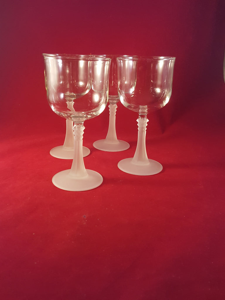 Cristal D'Arques Durand Frosted Stem Glasses  S/5 - The Other Alley