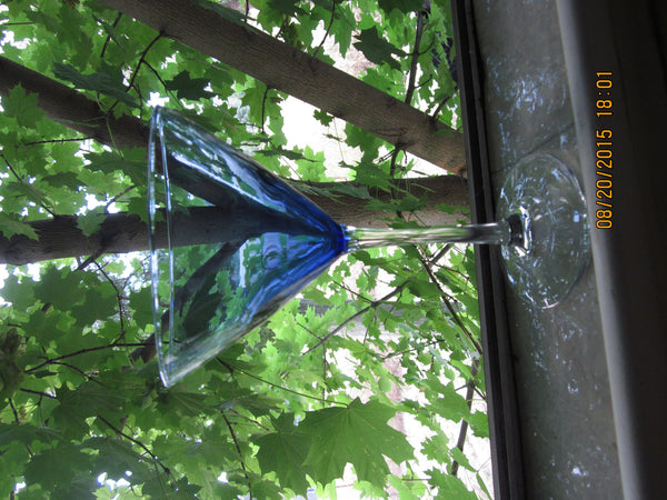 New Blue Stemware, Clear Stem - The Other Alley
