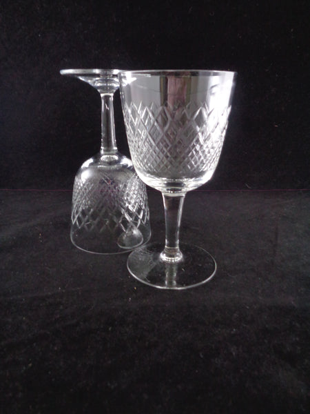 Cordial Crystal Goblets With Diamond Pattern S/8 - The Other Alley