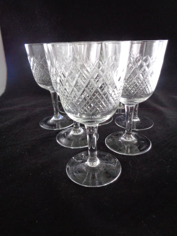 Wine Goblets With Diamond Pattern  S/10