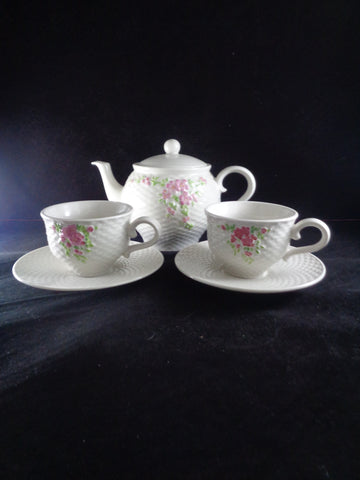 Teleflora Tea Pot Set With Pink Flowers 6 Pieces