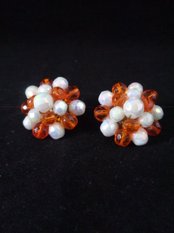 Orange And White Cluster Clip Earrings