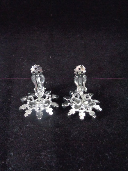Silver Plated Sunburst Clip Earrings