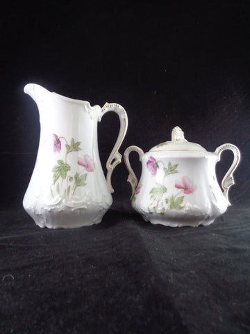Vintage Porcelain Creamer And Sugar Bowl Set