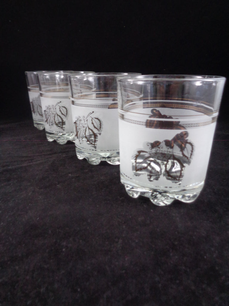 Frosted Low Ball Gold Leaves Glasses  S/4