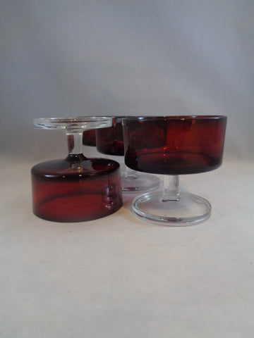 Ruby Red Clear Stem Dessert Cups  S/3 - The Other Alley