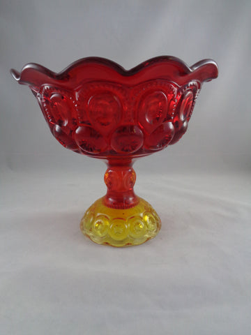 Amberina Compote Bowl Scalloped Edge - The Other Alley