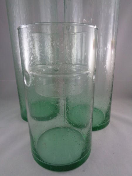 Cylinder Bubble Glass Candle Holder with Glass Insert  S/3 - The Other Alley