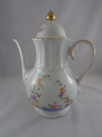 Tall Ceramic Tea Pot With Gold Gilding
