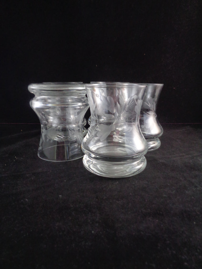Etched Hourglass Shaped Rocks Glasses  S/5 - The Other Alley