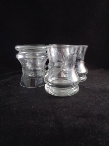 Etched Hourglass Shaped Rocks Glasses  S/5
