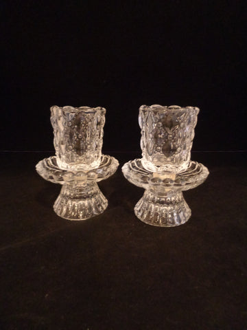 Partylite Quilted Crystal Votive Candle Holders  S/2