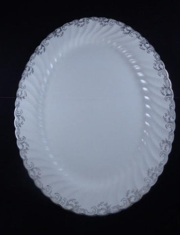 White Ironstone Platter With Silver Trim