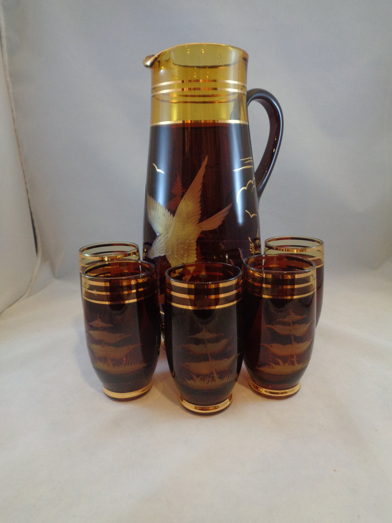 Amber/Chocolate Brown Pitcher With Eagle/5 Tumblers - The Other Alley
