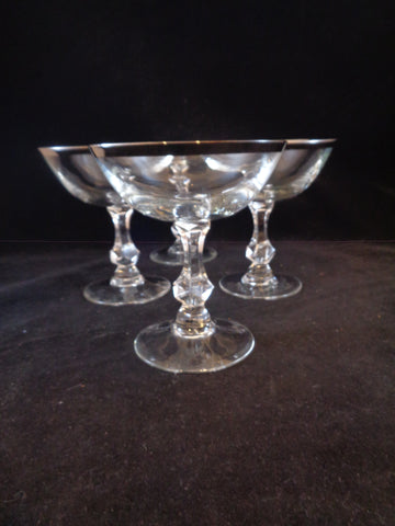 Platinum Rimmed Champagne Coupes  S/4 - The Other Alley