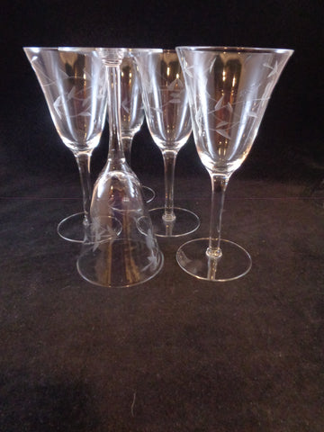 Flared Etched Wine Goblets  S/5 - The Other Alley