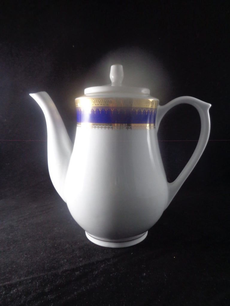 White Tea Pot With Blue And Gold Trim - The Other Alley
