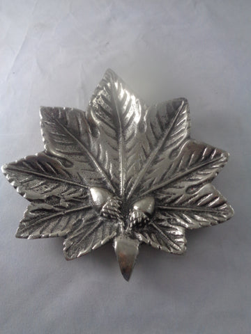 Pewter Leaf With Acorn Accent Bowl - The Other Alley