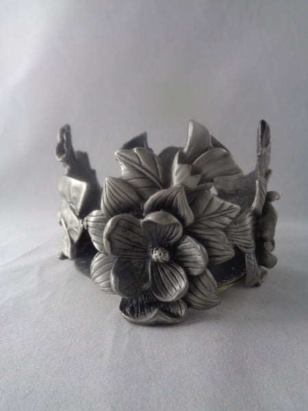 Pewter Candle Holder With Flowers - The Other Alley