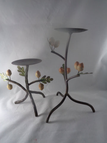 Vintage Rustic Candle Holders With Acorns