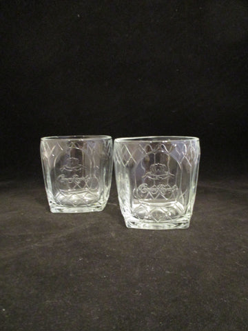 Crown Royal Window Pane Rocks Glasses  S/2