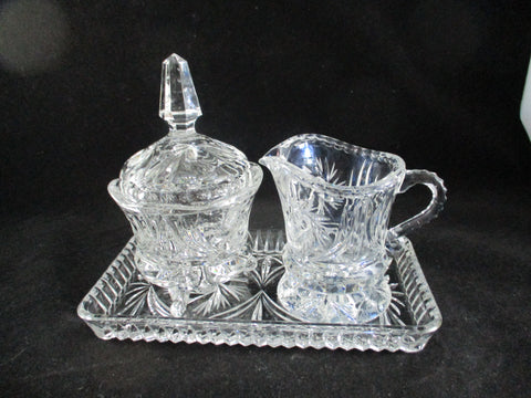 Crystal Cream And Sugar Set On Tray