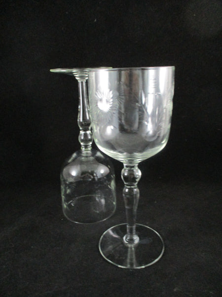 Etched Flower Wine Stemware  S/4 - The Other Alley