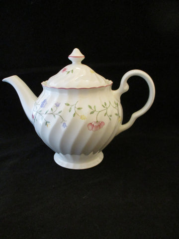 White Tea Pot With Pink, Purple Flowers...SOLD OUT