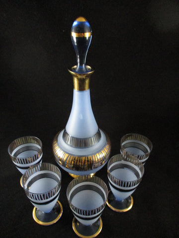 Frosted Blue And Gold Decanter W/ 5 Shot Glasses