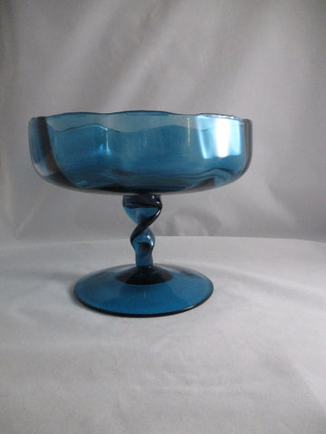 Teal Compote Bowl With Twisted Stem
