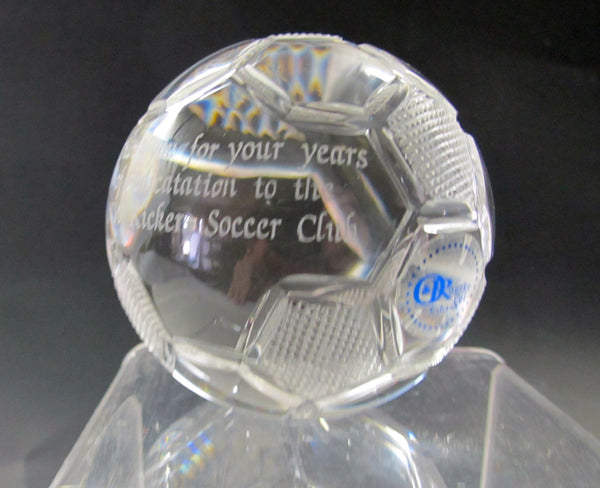 Hand Cut  Crystal Soccer Ball Award - The Other Alley