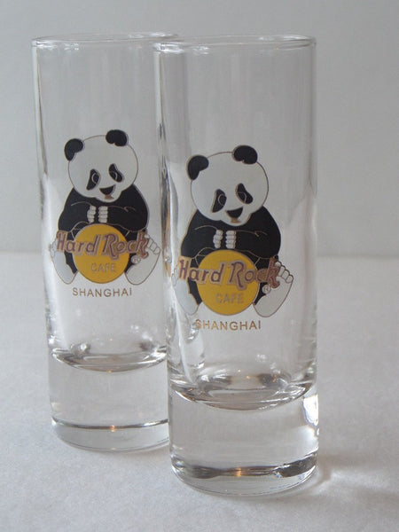 "Hard Rock Cafe SHANGHAI 4"" SHOT GLASS(2 Available) PANDA BEAR w/HRC Logo - The Other Alley"