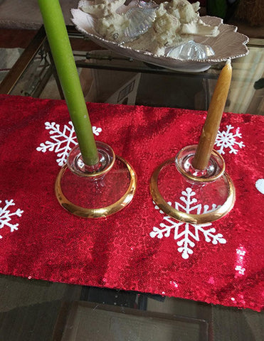 Beautiful Candle Stick Holders  22K Gilded - The Other Alley