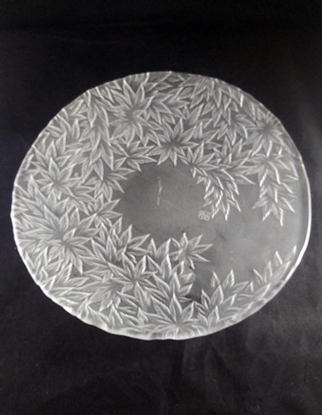 Large Frosted Japanese Shallow Bowl, Leaf Pattern - The Other Alley