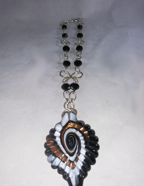 Glass Medallion And Bead Necklace