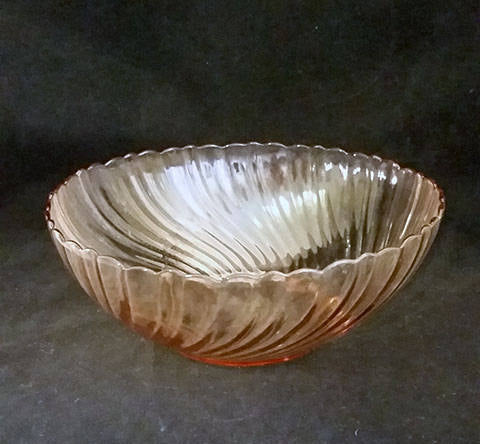 Arcoroc/France - Rosaline Pink Swirl Bowl with Silver Metal Stand - The Other Alley