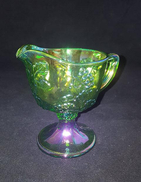 Lime Green Carnival Glass Creamer - The Other Alley
