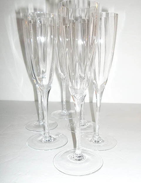 Crystal Optic Swirl Sparkling Flutes  S/5 - The Other Alley