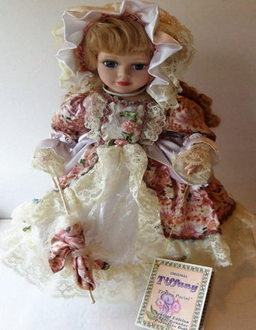 Original Tiffany Doll with Parasol, Special Edition, MINT with Certificate and Stand - The Other Alley