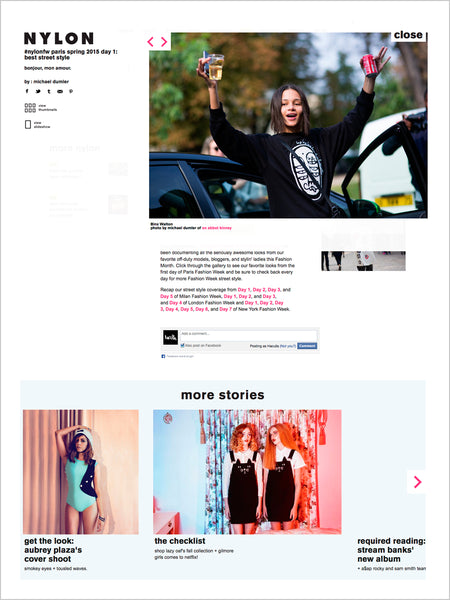 Haculla Featured on Nylon Magazine: Paris Spring 2015 Best Street Style